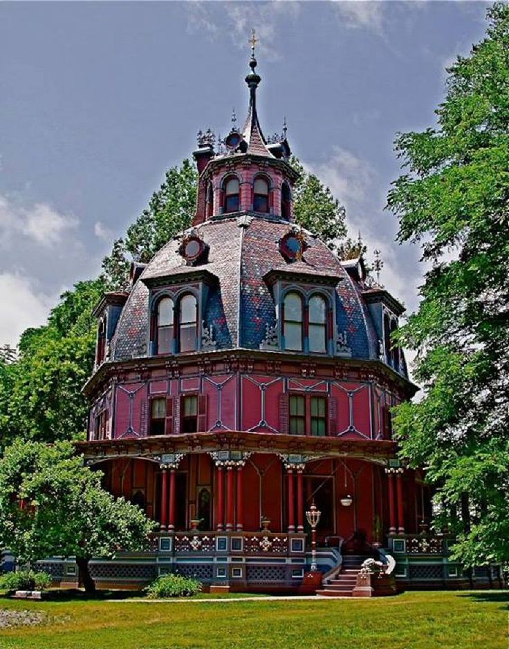 I ❤ Victorian Houses . . . The Armour-Stiner House, a unique octagon-shaped and domed Victorian style house located at 45 West Clinton Avenue in Irvington, in Westchester County, New York.