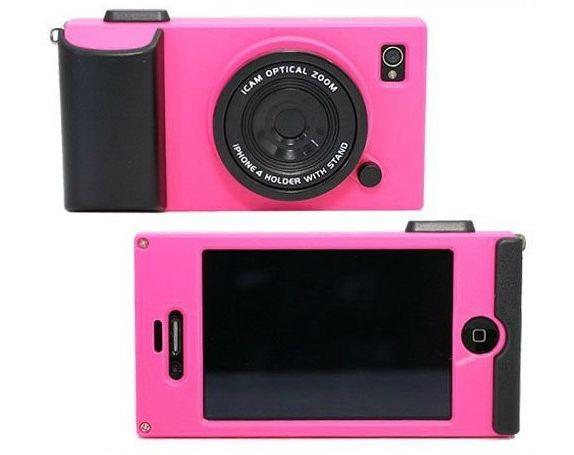 Imitando a una cámara de fotos analógica y con todo el encanto de una época pasada, la funda cámara para iPhone no sólo lo protegerá de golpes y arañazos.  http://www.factoriaderegalos.com/aun-hay-mas/funda-iphone-camara-icam-p-762.html