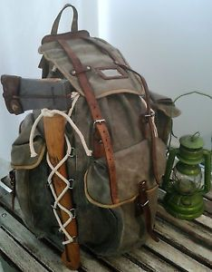 Vintage canvas and leather rucksack large bergen bushcraft old time camping NICE | eBay