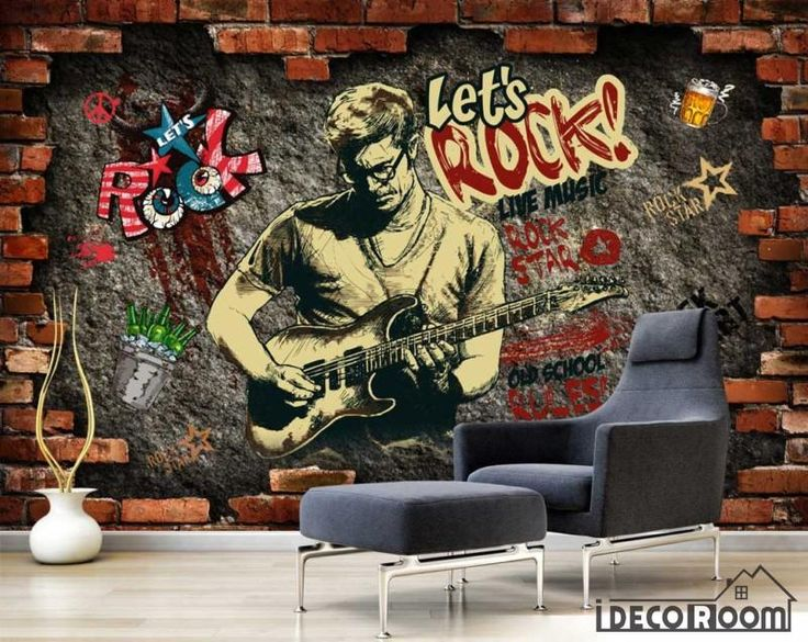 Broken Brick Wall Drawing Man Playing Electric Guitar Living Room Art Wall Murals Wallpaper Decals Prints Decor