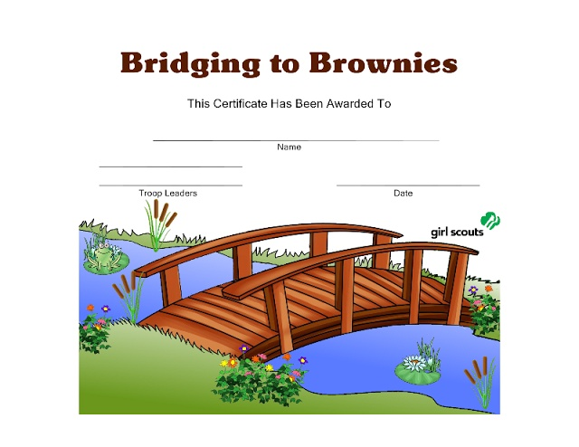Free Download from Girl Scout Printables: Bridging to Brownies Certificate