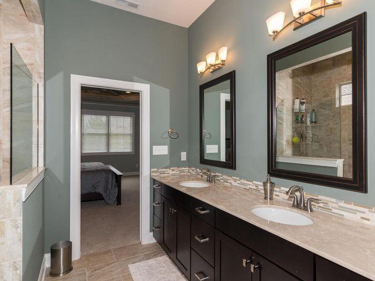 Transitional Master Bathroom With Limestone Tile Floors Rta Shaker Espresso Cabinets Underm Modern White Bathroom Bathroom Color Schemes Espresso Cabinets