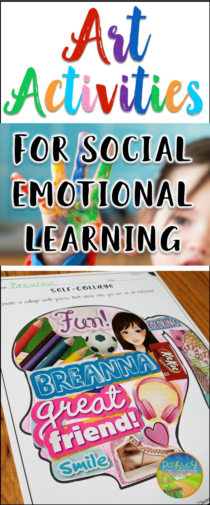 Use art and hands on activities to teach critical social emotional skills including confidence, self-awareness, social skills, relationship building, collaboration, and more.