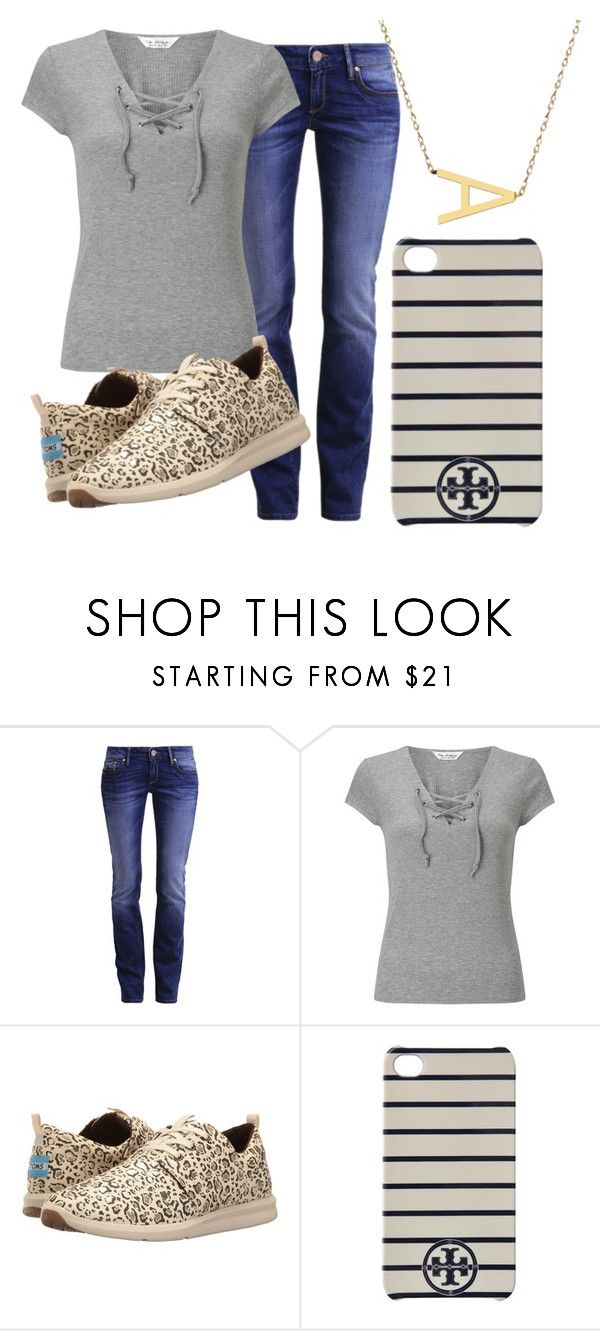 """Untitled #809"" by pinktasticey ❤ liked on Polyvore featuring Mavi, Miss Selfridge, TOMS, Tory Burch and Jane Basch"