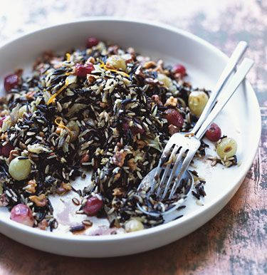 Wild Rice Dressing with Roasted Grapes and Walnuts Recipe | Epicurious.com