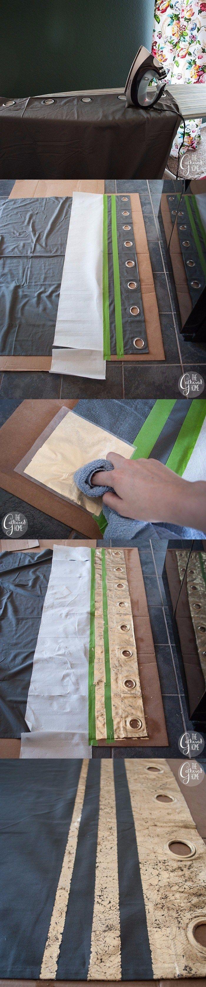 Toque dorado para renovar tus cortinas - thegatheredhome.com - DIY Gold Leaf Embellished Curtains