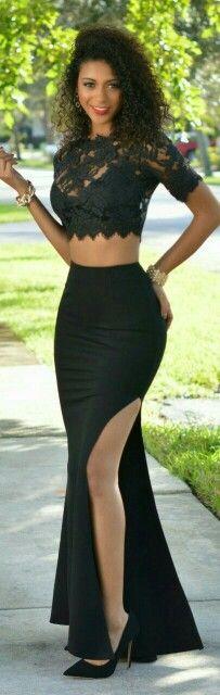Beverly Black Mermaid Slit Skirt / Chic Couture