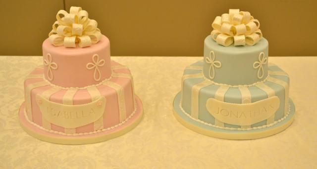 Twin Baby Girl and Baby Boy Baptism Cakes