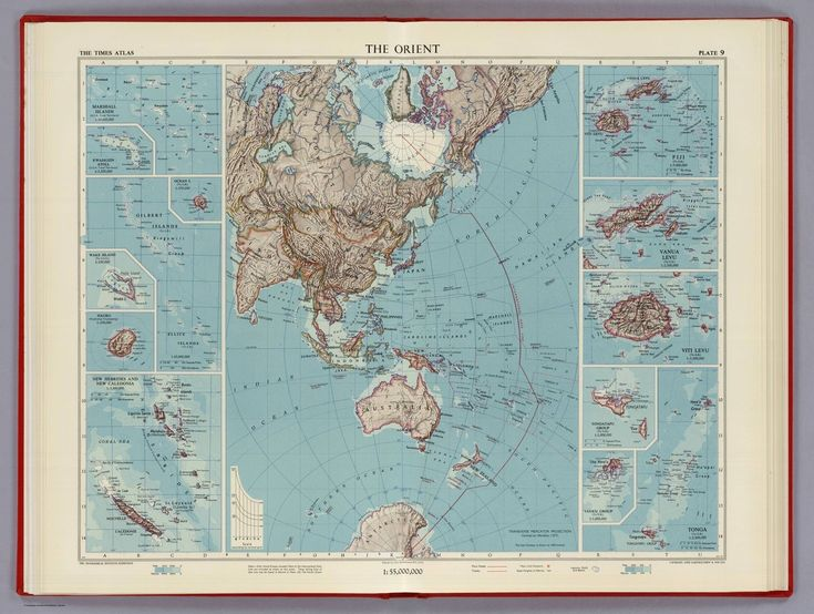 "The Orient, 1958 Map of the Asia-Pacific region (identified here as ""The Orient""). It includes insets of several of the Pacific islands. This map appeared in a British atlas of the 50's (The Times..."