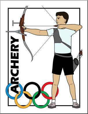 Clip art summer olympics event illustrations archery color