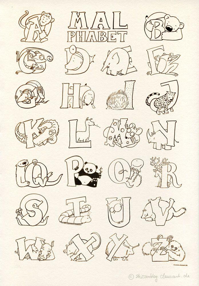 """""""Das Malphabet"""" - Alphabet mit Tieren #Ausmalbild #Malvorlage #gratis"""
