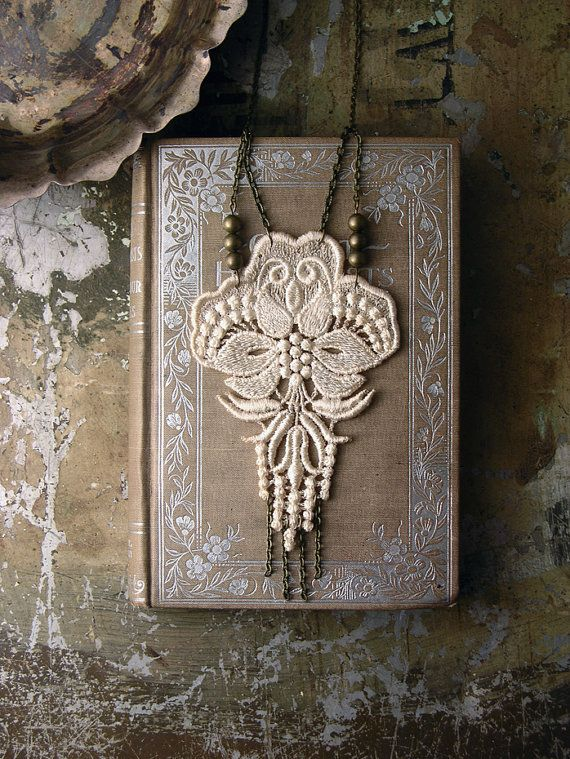 lace necklace LOTUS by whiteowl on Etsy, $36.00