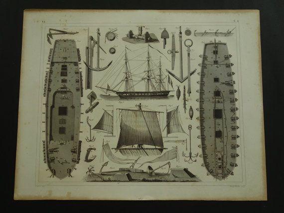 1849 FREGAT old print of Fregat plan  antique by DecorativePrints