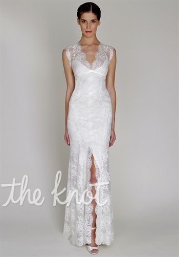 Gown features lace, open back and front slit. BL1330 by BLISS by Monique Lhuillier