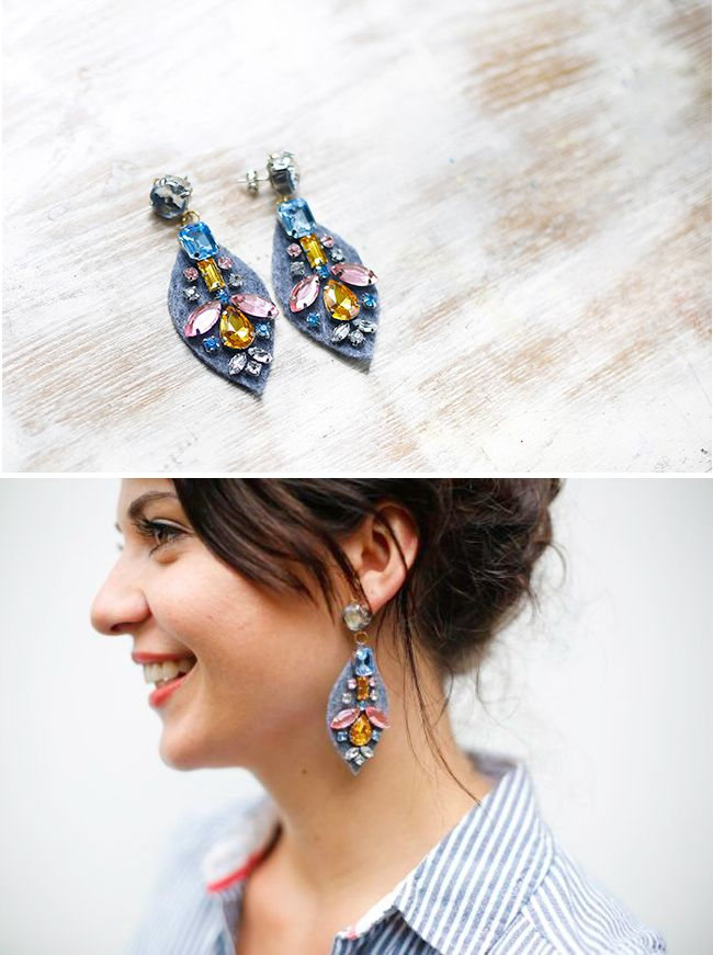 Make your own pair of statement DIY Earrings! A tutorial for J.Crew embroidered jewel earrings for much less!