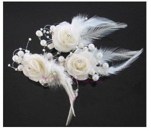 Wedding gift: White Crystal and Pearl Bridal Feather Fascinator Headpiece Bridal Flowers/Hair Accessory Wedding Flowers (3 Piece in one set)