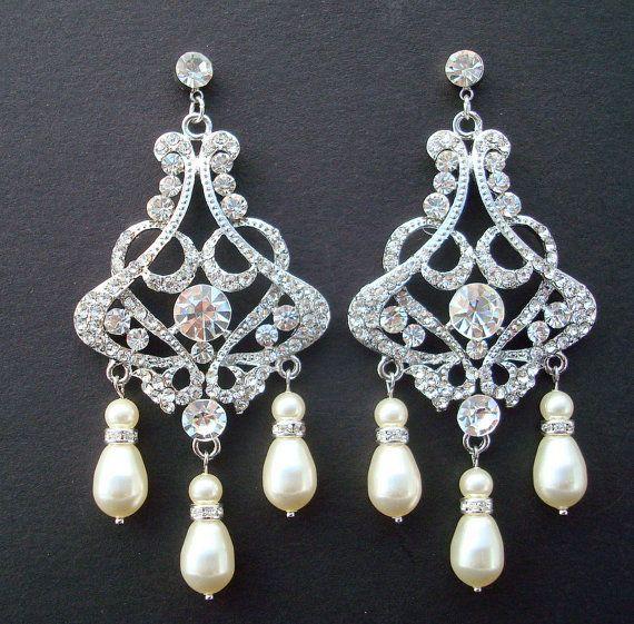 Bridal Earrings Pearl Earrings Bridal Pearl by DivineJewel on Etsy, $54.00