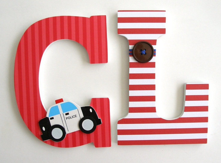 Custom Decorated Wooden Letters POLICE Theme  Nursery Bedroom Home Décor,  Wall Decorations, Wood