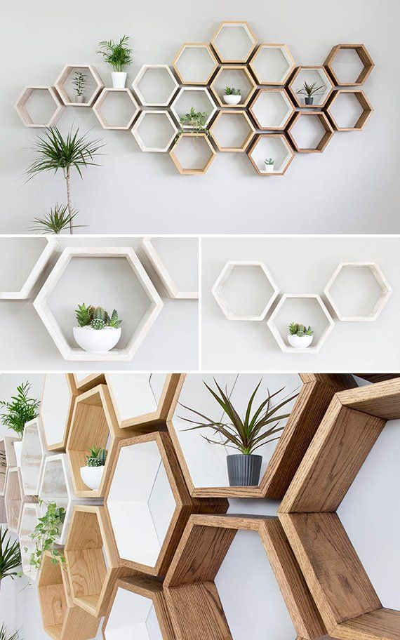 Rustic white hexagon solid oak wall shelf
