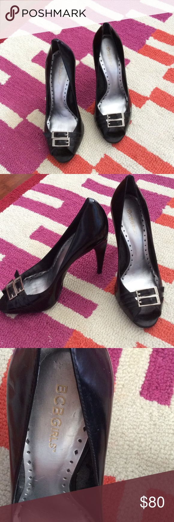 """BCBG D'Orsay Black Leather Pumps Beautiful black leather open toed pump. 5"""" black leather heel. Silver hardware with 2 straps with buckles at toe bed. Flashy silver metallic inner sole. Never worn. Shoes Heels"""