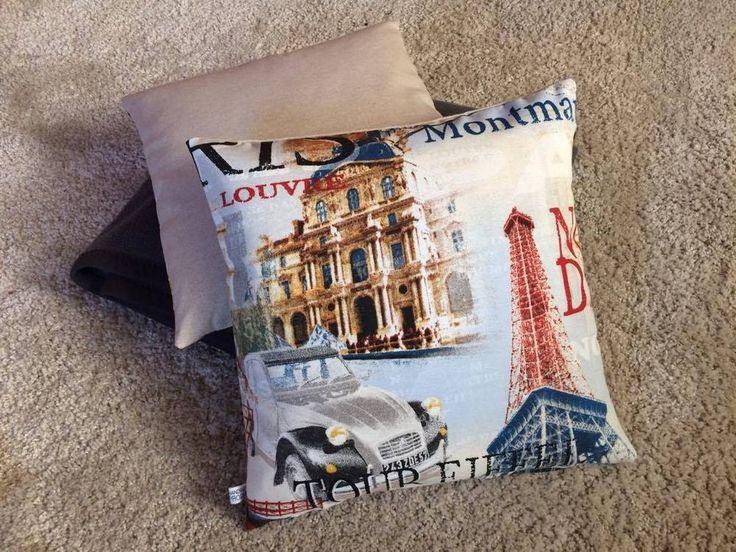 Kissenbezug 40 x 40 beige grau Paris Eifelturm Kissenhülle ohne Kissen  | eBay