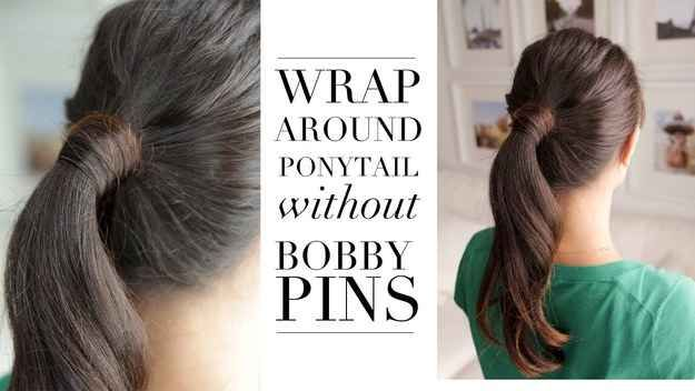 Here's a cool trick to get the wrapped pony look, even if you don't have any bobby pins lying around.
