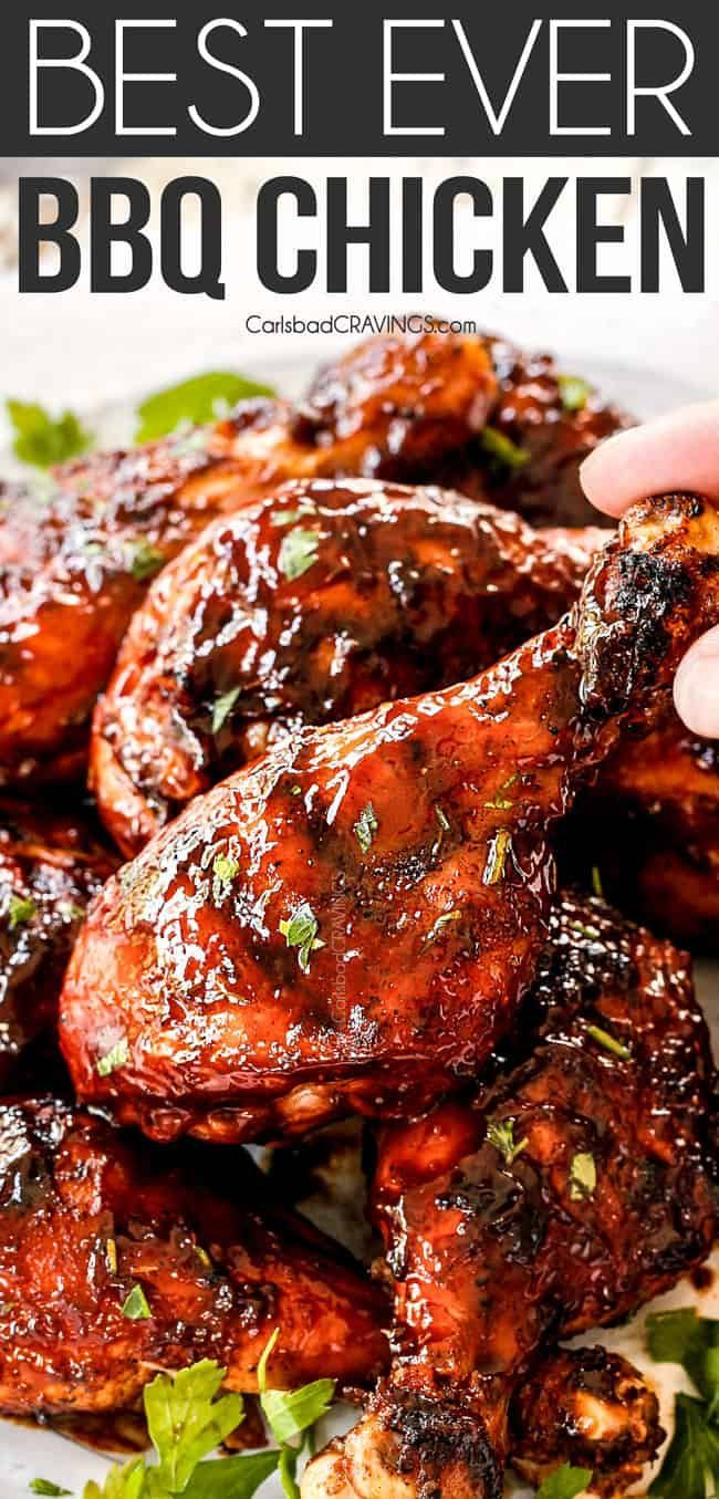 Grilled Bbq Chicken Enveloped In A Tantalizing Spice Rub Slathered With Homemade Barbecue Sauc Grilled Bbq Chicken Bbq Chicken Recipes Grilled Chicken Recipes
