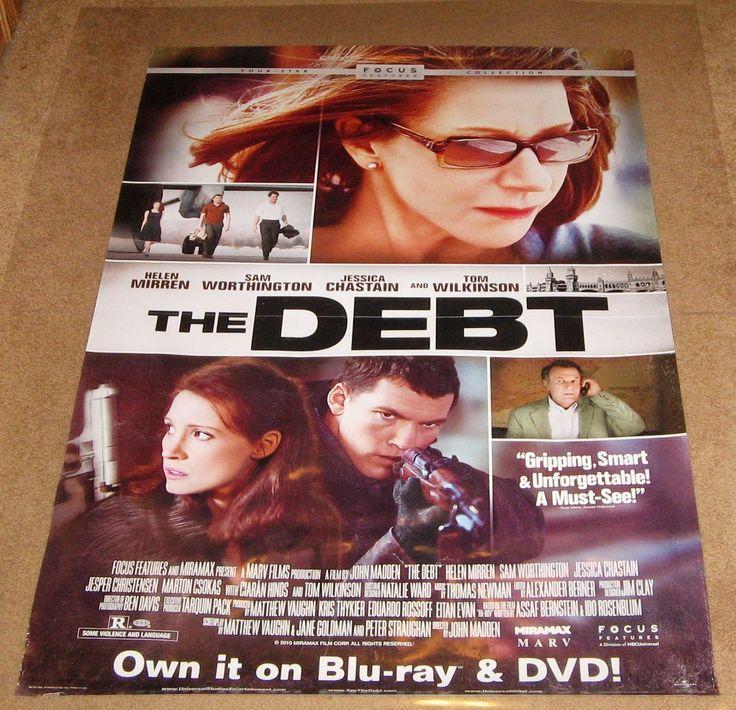 The Debt Movie Poster 27x40 Used Tom Wilkinson, Jesper Christensen, Helen Mirren, Nitzan Sharron, Sam Worthington, Marton Csokas, Ciarán Hinds