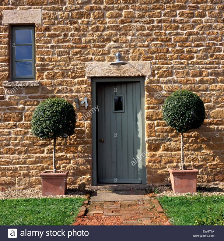 Download this stock image: Clipped bay trees in pots on either side of painted front door in small stone house - EW6T1A from Alamy's library of millions of high resolution stock photos, illustrations and vectors.