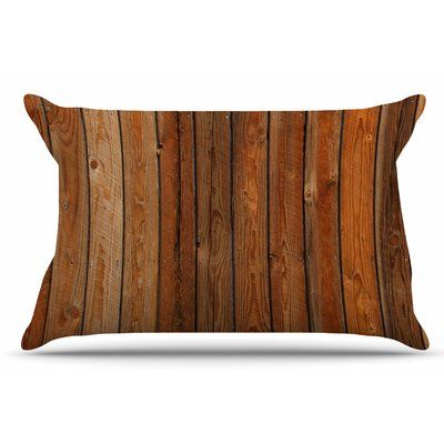 East Urban Home Susan Sanders 'Rustic Wood Wall' Nature Pillow Case