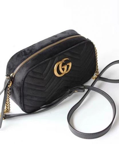 aef6fabf9eb6 Replica Gucci GG Marmont velvet small shoulder bag 447632 Black  6956 8