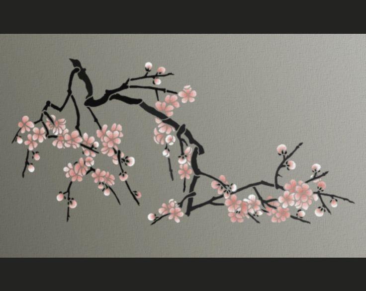 A--STENCIL olive - Japanese Cherry Blossoms , via Etsy.