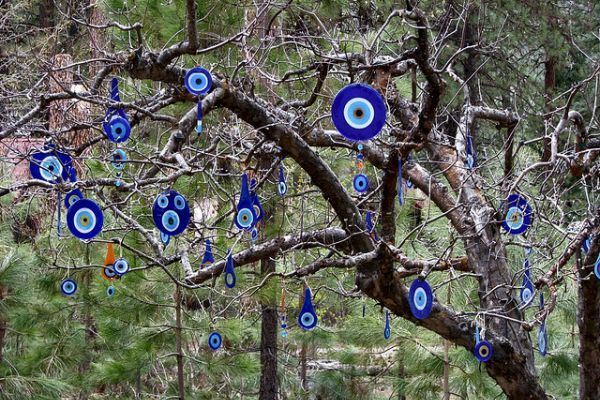 Evil eyes recycled glass art trees glass art and sculpture for Recycled glass art