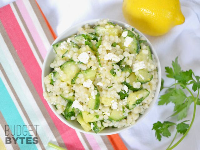 Lemony Cucumber Couscous Salad - Budget Bytes Added baby spinach instead of parsley as I didn't have any fresh.