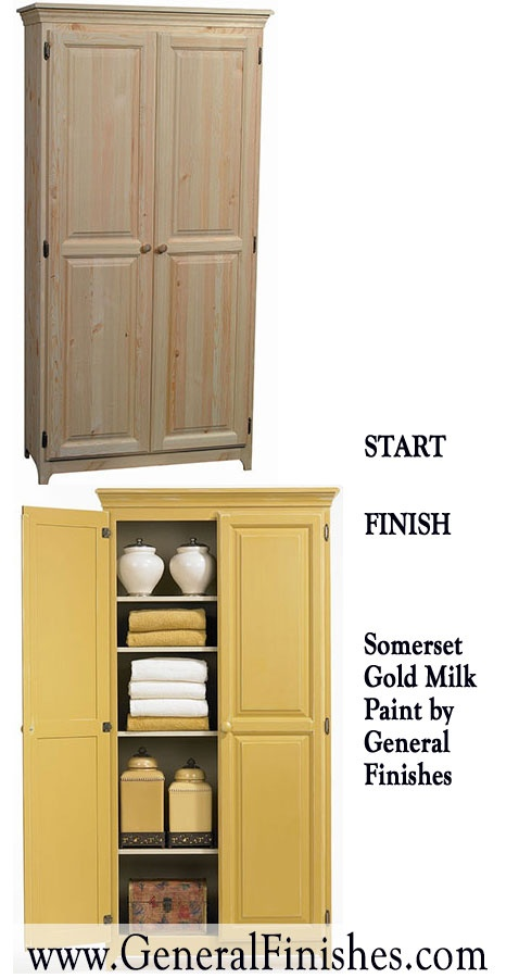 A coat of milk paint on unfinished wood furniture can change the look of a  room