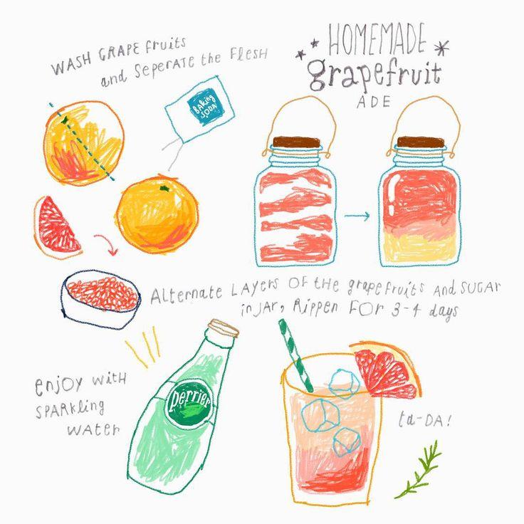 homemade 'grapefruit-ade' recipe illustration  _ 저희집에 오시면  홈메이드 #자몽청에이드 를  만들어 드립니다  _