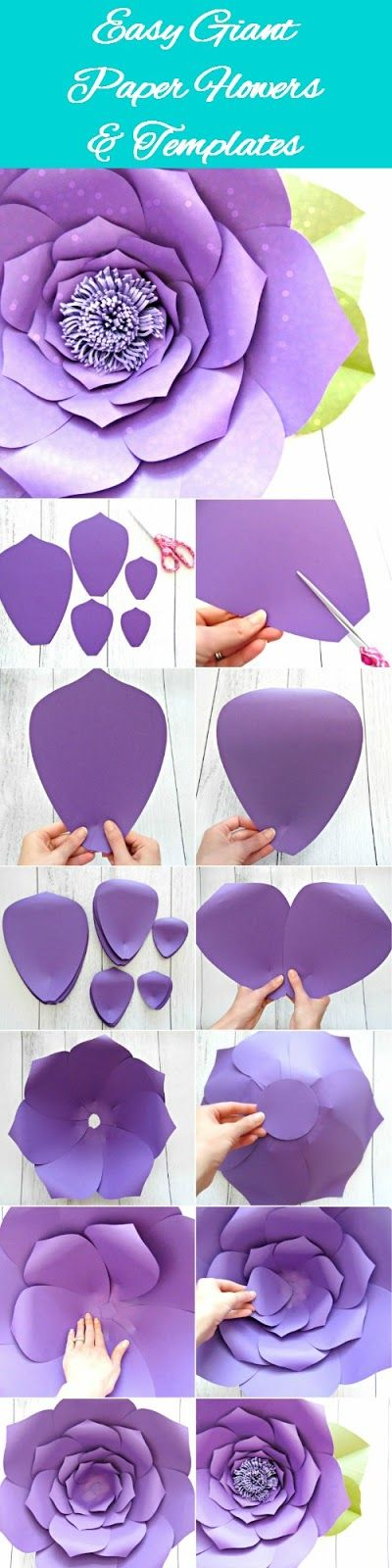 DIY Giant Paper flowers. Easy backdrop flower tutorial with printable flower templates. TO VIEW THIS POST ON OUR NEW CORRECT S...
