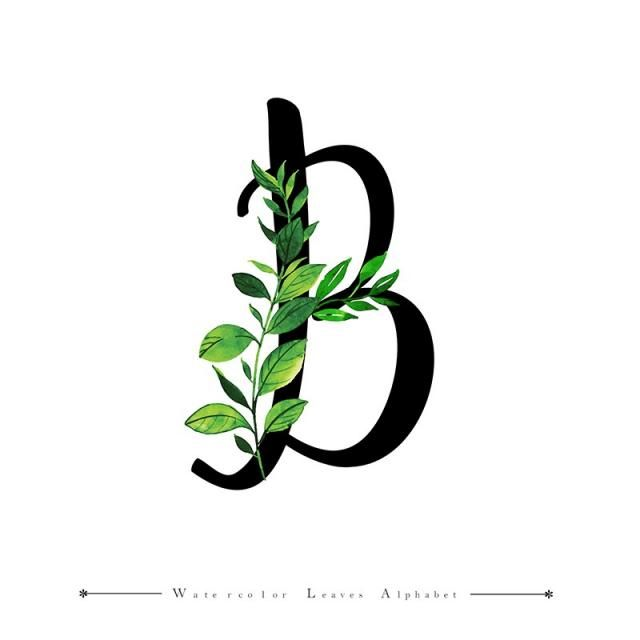 Letter B With Watercolor Leaves Background Watercolor Color Floral Png And Vector With Transparent Background For Free Download Letter B Watercolor Leaves Alphabet Wallpaper