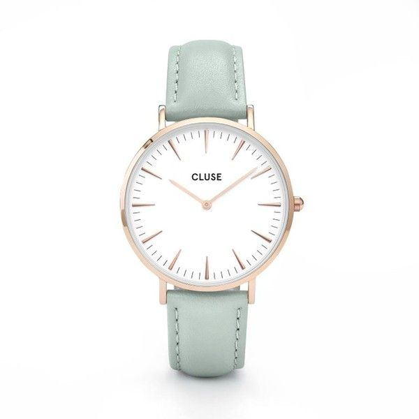 Cluse la boheme watch rose gold white/pastel mint ($119) ❤ liked on Polyvore featuring men's fashion, men's jewelry, men's watches, mens rose gold watches and mens white watches