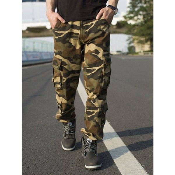 Muti pocket Camouflage Cargo Pants ($34) ❤ liked on Polyvore featuring men's fashion, men's clothing, men's pants, men's casual pants, mens camo cargo pants, mens camouflage cargo pants, mens 6 pocket cargo pants, men's 5 pocket pants and mens camo pants