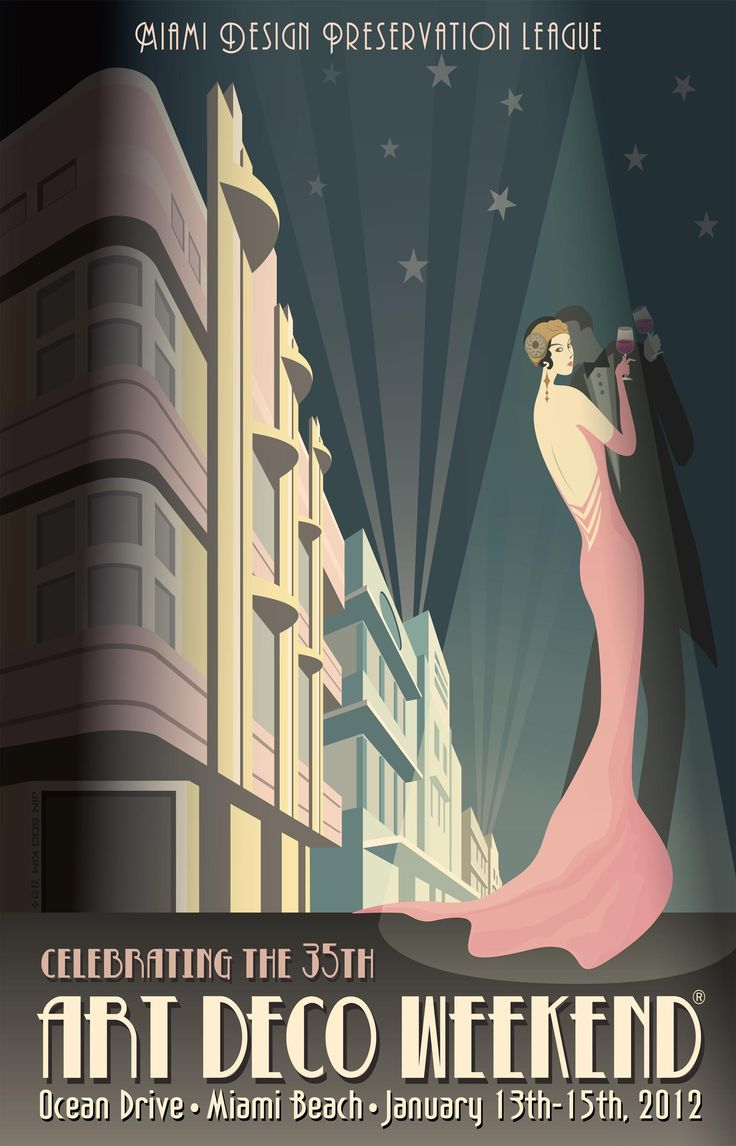 Miami Art Deco Festival Poster - However could be used as a party invitation