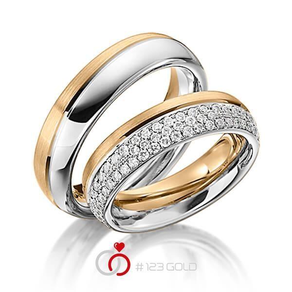 1 Paar Trauringe - Legierung: Roségold 585/- Weißgold 585/- Breite: 6,00 - Höhe: 2,70 - Steinbesatz: 74 Brillanten zus. 0,74 ct. tw, si (Ring 1 mit Steinbesatz, Ring 2 ohne Steinbesatz)