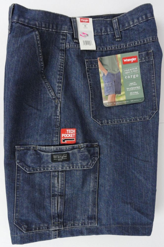 b79aae885d NWT WRANGLER Shorts Authentic Genuine Cargo Pocket Denim Men's 40 Phone  Pocket #Wrangler #CargoDenim