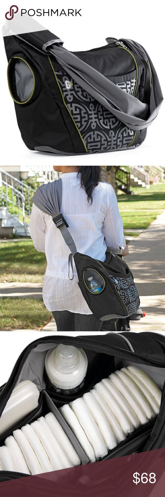 Original Go Gaga Diaper/Messenger Bag Ergonomic strap distributes the weight of the bag across your back & shoulders made of a soft, stretch nylon that's wrinkle and stain resistant. The bag features 2 insulated bottle pockets on either side of the bag that are large enough for baby bottles, sippy cups, or water bottles. Inside, there are 5 pockets and a center divider that velcros into place for more organization when you need it. The back panel features a large pocket that fits the…