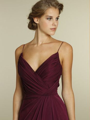 Merlot Chiffon A-line V-neck Long Bridesmaid Dress: