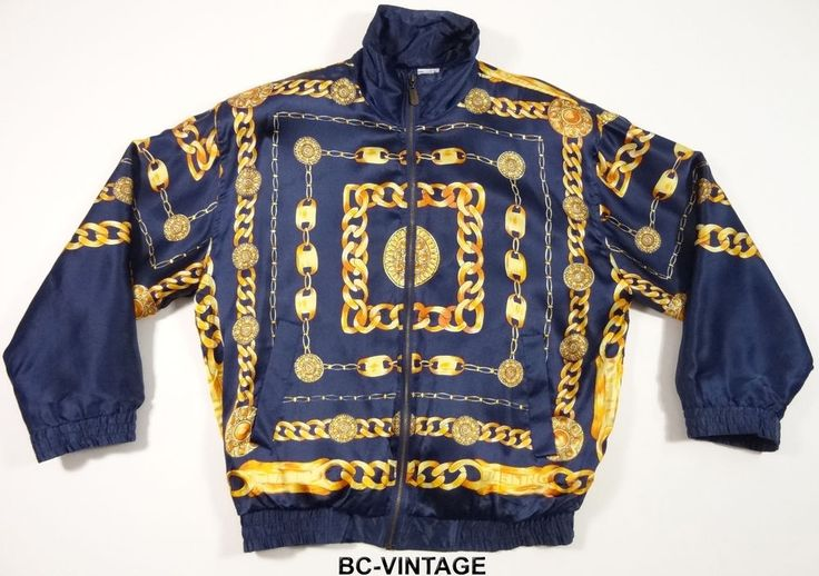 VINTAGE 70'S 80'S BIG GOLD CHAIN ALL OVER PRINT SILK JACKET SWAG BOMBER 25436 #FUDAINTERNATIONAL #BAROQUE