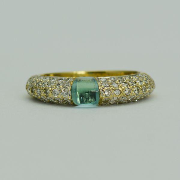 Inel din aur galben cu diamante si topaz