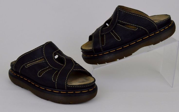 Dr Marten's Women's Shoes Size UK 6 Black Leather Slide Sandals US 8 #DrMartens #Slides #Casual