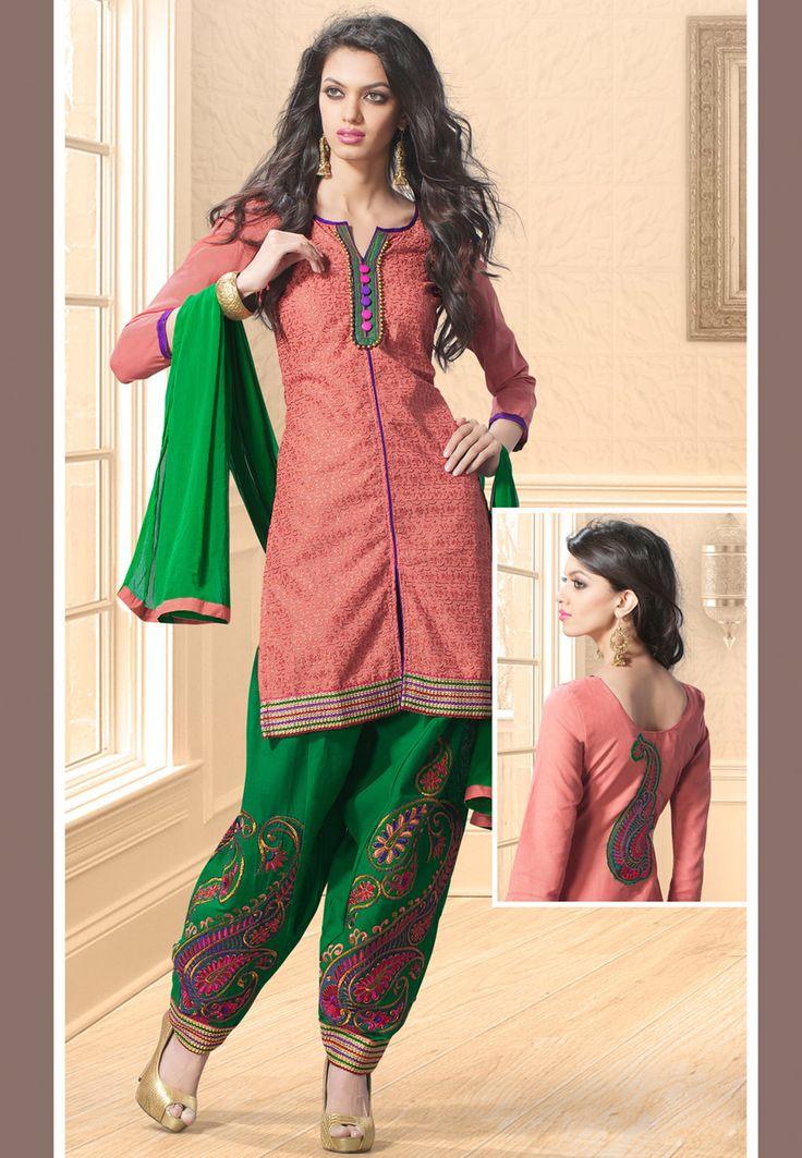 Dark Peach Cotton Salwar Kameez Online Shopping: KFF50