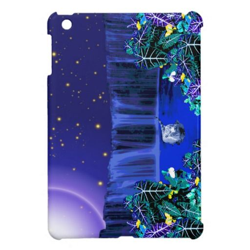 White Night Tiger Tropical Waterfall iPad Case iPad Mini Case - This iPad case features a white tiger wading in the water, taking a midnight dip the moon high in the sky, a waterfall behind and a tropical rain forest in front. Available for the iPad, iPad Mini and the iPad Air. http://www.zazzle.com.au/white_night_tiger_tropical_waterfall_ipad_case_ipad_mini_case-256848570526075935?rf=238523064604734277